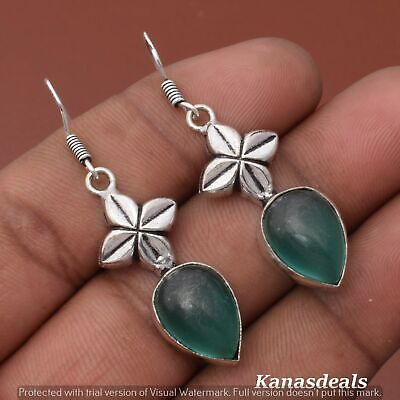 Thanksgiving Gift 6.5 Gm Green Onyx 925 Sterling Silver Plated Earring ER-28342