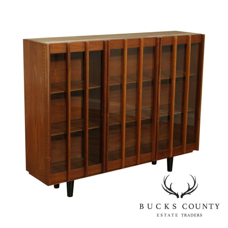 Mid-Century Modern Walnut Display Cabinet Bookcase