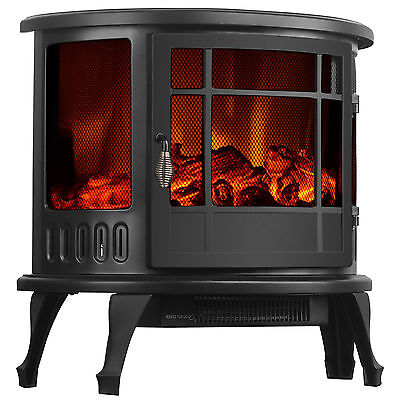 "23"" Standing Electric Fireplace Stove 1500W Heater Realistic Flame Adjustable"