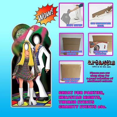 Disco Couple Stand In Photo Prop Lifesize Star Cardboard Cutout 1970s 80s Party - Photo Stand Ins Cutouts