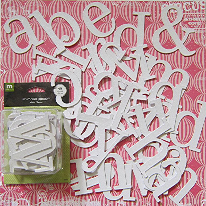 Making Memories Large Shimmer Jigsaw Chipboard  (white) Save 50%