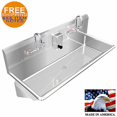 Multi User Wash Up Hand Sink 2 Person 40 Wall Mount Heavy Duty Stainless Steel