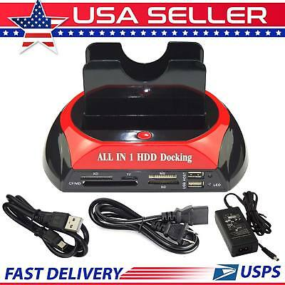 "2.5"" HDD Docking Station 3.5"" IDE SATA Dual USB Clone Hard Drive Card Reader"