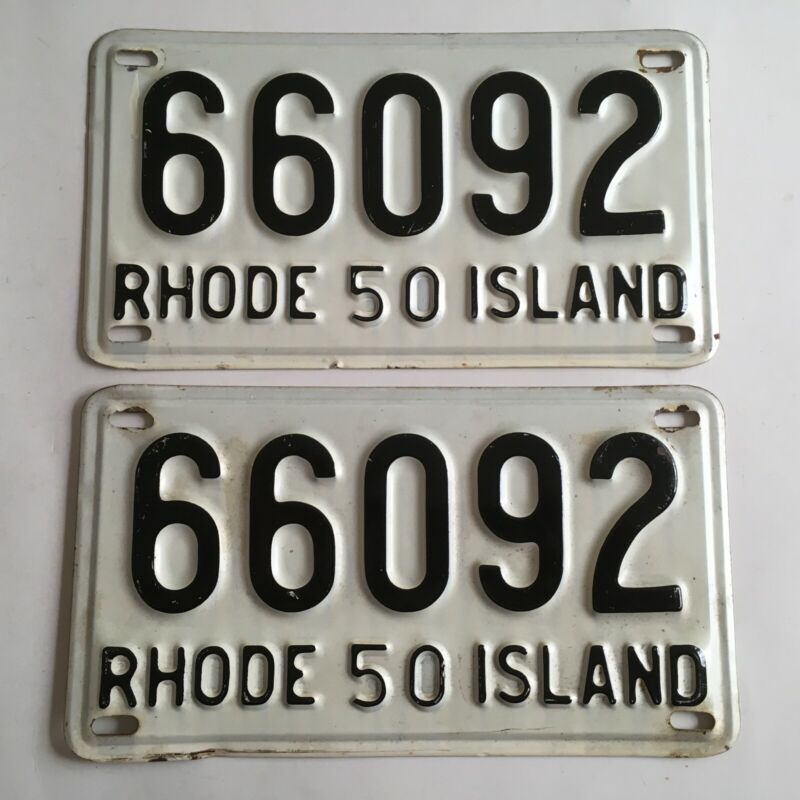 1950 Rhode Island License Plate PAIR Plates All Original Ford Chevy Dodge Buick