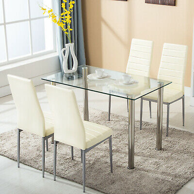 5 pcs Dining Set Glass Metal Table and 4 Chairs Kitchen Dining Room Furniture