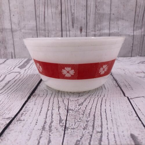 Vintage Mixing Bowl Red White Picnic Check Pattern Federal Glass