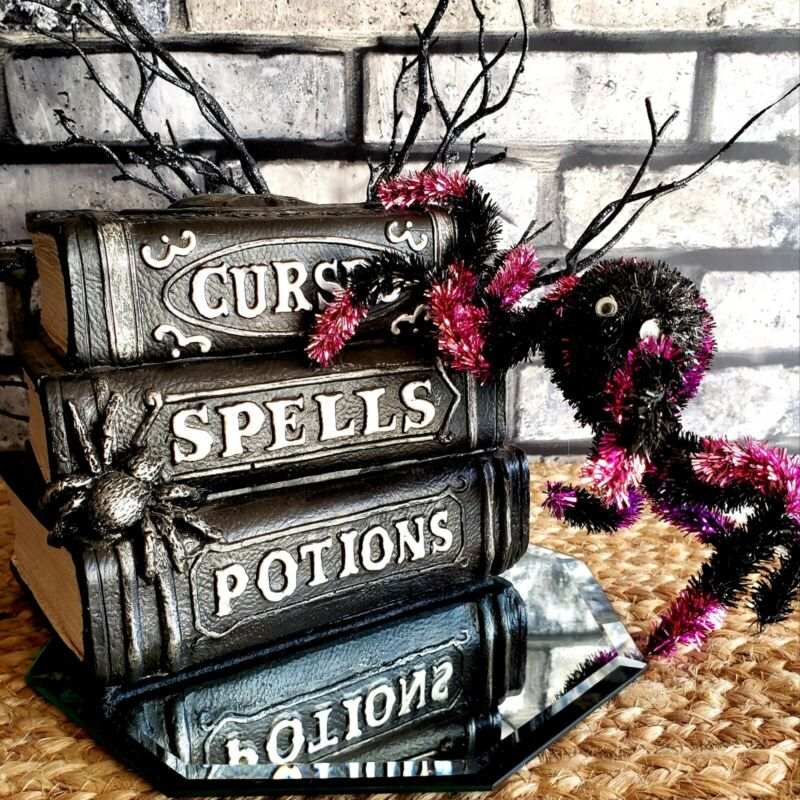 Skull 3D Curses Spells Potions Faux Stack of Gothic Books Halloween Prop Decor