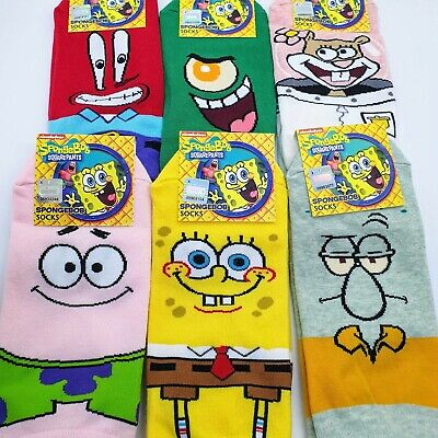 Spongebob Squarepants Ankle Socks Collection Fun Gift Set Of 6 Pairs Size 6-12