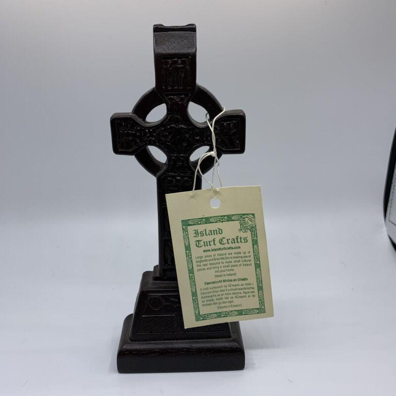 "Irish Island Boglands Turf Crafts 6.5"" High Celtics Cross with Original Tag"
