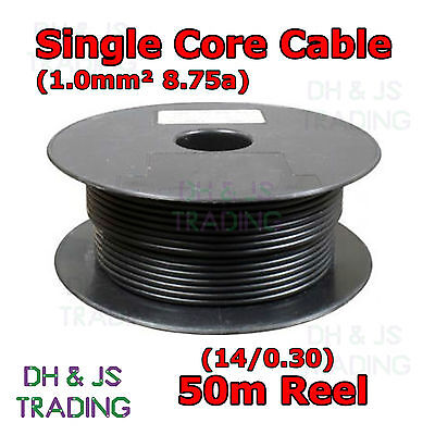 Single Core Cable - Black 50m 1mm² 8.75a 14/0.30 Auto Wiring Car Van Marine 1mm