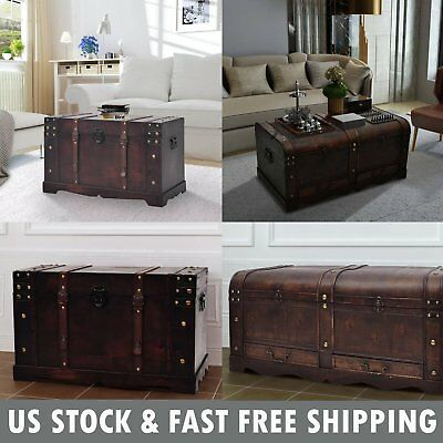 Wooden Treasure Chest Jewelry Box Large Storage Organizer Trunk Coffee Table ()