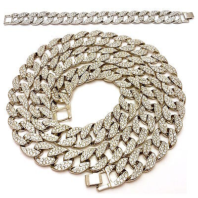 ICED OUT LAB DIAMOND WHITE GOLD MIAMI CUBAN LINK CHAIN 30\\,36\\ NECKLACE SET