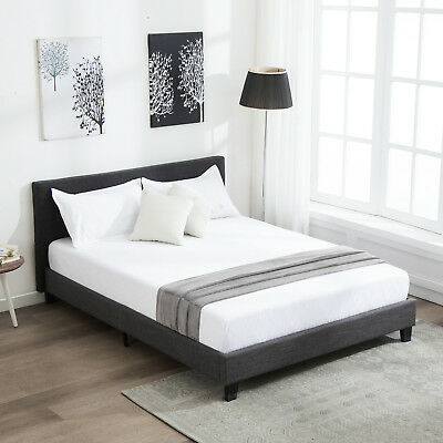 Full Size Platform Bed Frame Upholstered Headboard & Slats Bedroom Furniture