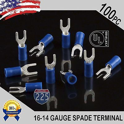 100 Pack 16-14 Gauge Vinyl Spade Fork Crimp Terminals 6 Stud Tin Copper Core Ul