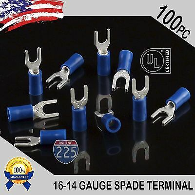 100 Pack 16-14 Gauge Vinyl Spade Fork Crimp Terminals 6 Stud Tin Copper Core Ul