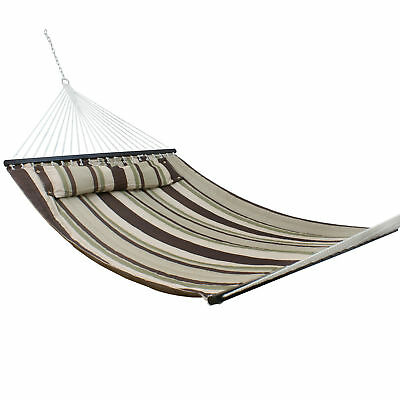 Double Hammock Quilted Fabric Wide Solid Spreader Bar for Outdoor Patio Yard for sale  Fontana