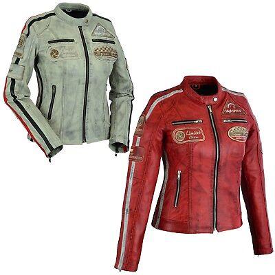 Rot Leder Mode ( Motorradjacke Damen Neu Motorrad Roller Retro Fashion Mode Leder Jacke Rot )