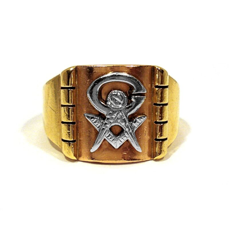 SOLID 10K YELLOW WHITE & ROSE GOLD MASONIC RING ~ SIZE 10 3/4