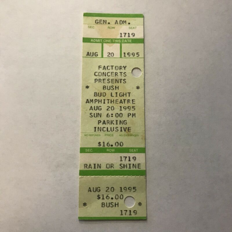 Bush Ice Bud Light Amphitheatre PA Concert Ticket Stub Vintage August 1995