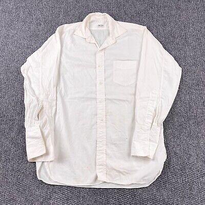 1940s Men's Shirts, Sweaters, Vests Vintage 40s 50s Towncraft Button Shirt Men's L 1940's Sanforized Gussets White $77.39 AT vintagedancer.com