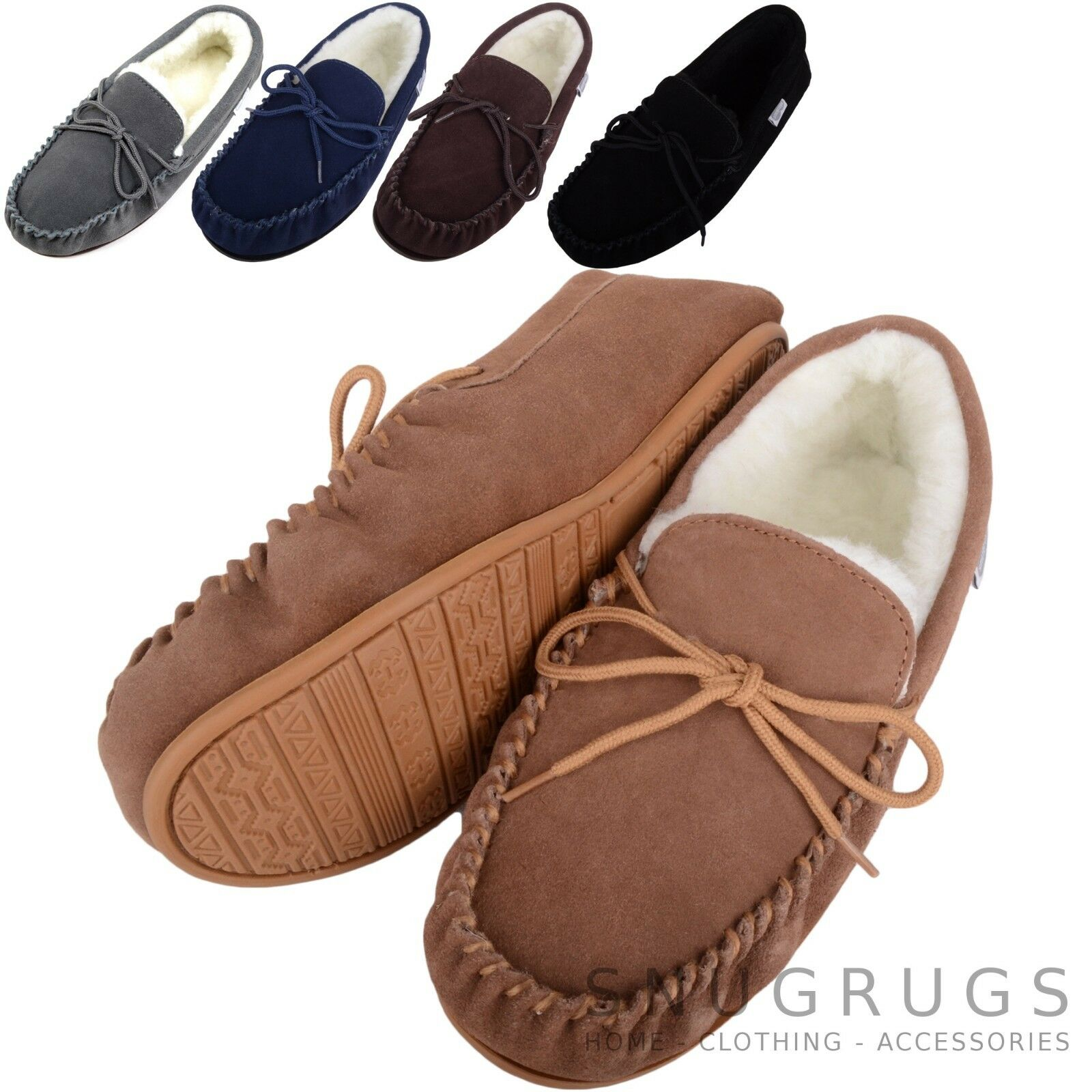 7310aa0e70c Details about SNUGRUGS Mens Genuine Suede Moccasin Sheepskin Slippers  Rubber Sole sizes 6-15