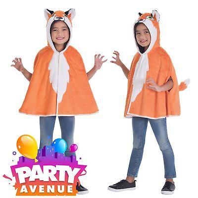 Fox Hooded Cape Boys Girls Book Week Animal Fancy Dress Up Costume ()