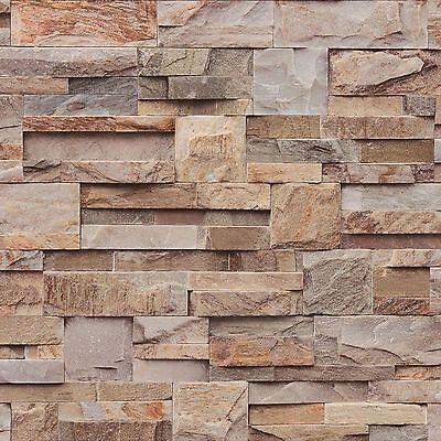 Muriva Grande Pizarra Papel Natural (J274-08) J27408 con Textura Piedra Ladrillo