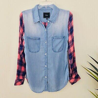 Rails Plaid Chambray Combo Shirt Womens XS Button Down Long Sleeve Long Sleeve Chambray Plaid Shirt