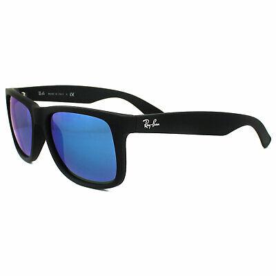 Ray-Ban Sonnenbrille Justin 4165 622/55 Gummi Schwarz Blau Spiegel