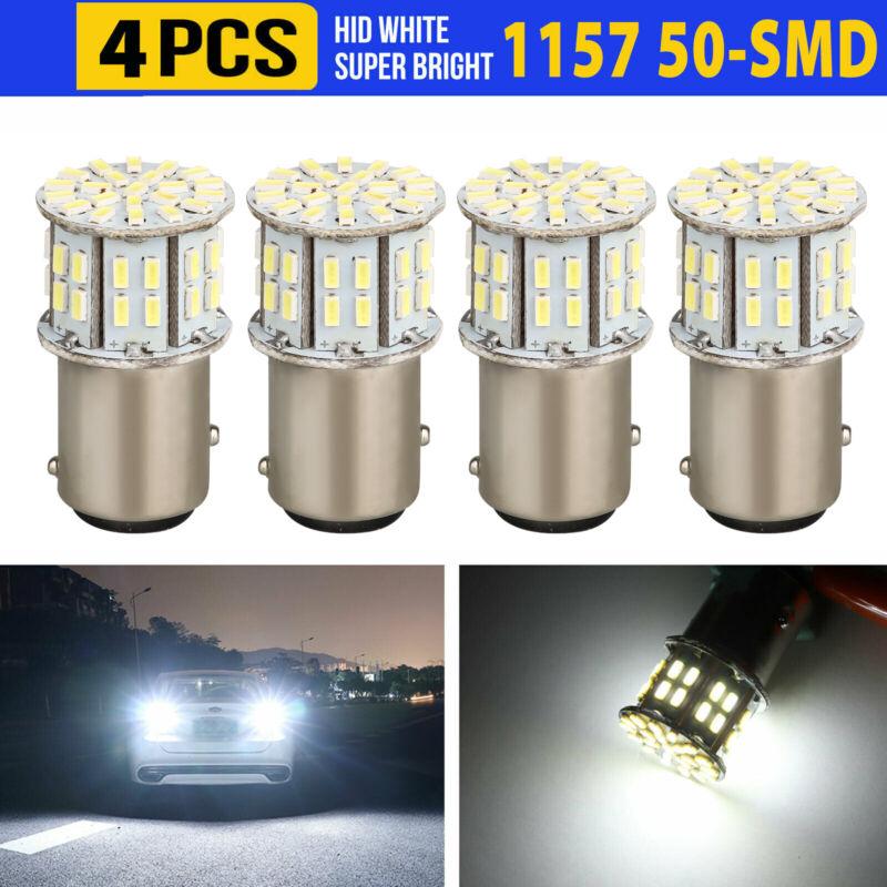 4x 6000K Super White 1157 BAY15D 50-SMD LED Tail Stop Brake Light Bulbs 7528 12V