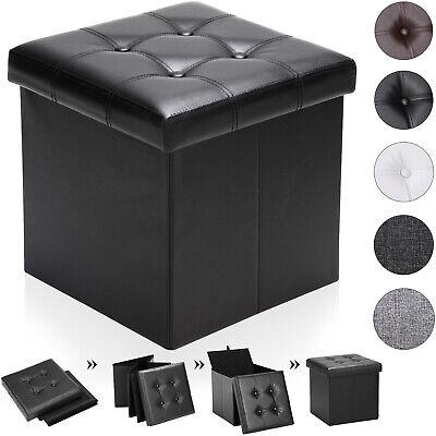 Sitzhocker Aufbewahrungsbox faltbar Sitztruhe mit Stauraum Sitzwürfel Kunstleder