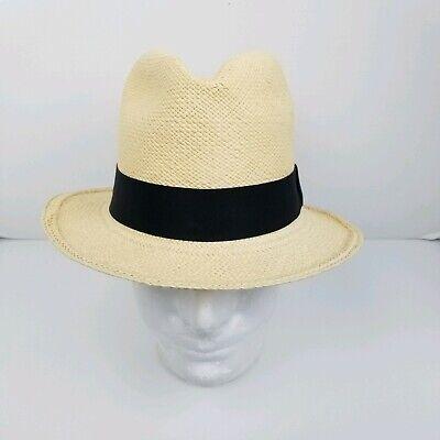 J. Crew Unisex Cream Handmade Genuine Panama Straw Fedora Hat Size S/M