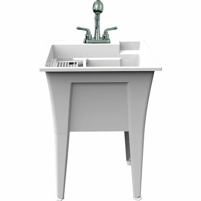 Rugged Tub Garage and Laundry Sink with Pull-Out Faucet - 24in.W, White,