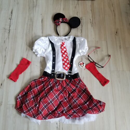 Halloween Costume disney minnie Mouse set dress 10 ? large tie plaid girl