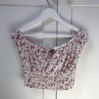 Kendall and Kylie top size large off the shoulder white floral hippy
