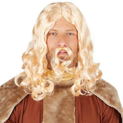 Herrenperücke Wikinger, blond Fasching Karneval Glatt Perücke Fastnacht (Wikinger Perücke)