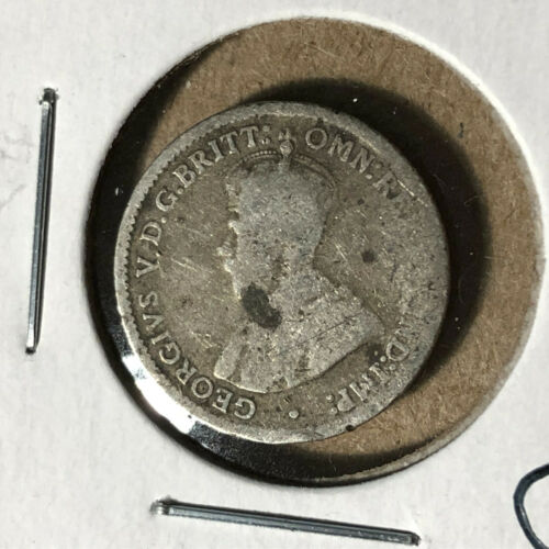 1921 (M) Australia 3 Pence King George V Silver Coin No Mint Mark
