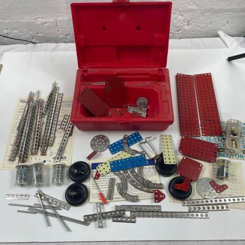 1970s Vintage Gilbert Erector Set w Red Plastic Case Construction Toy M-6734 M