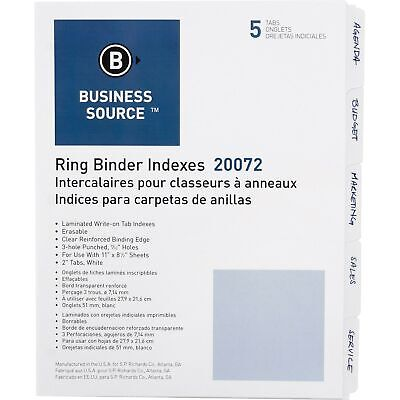 Business Source 3-Ring Plain Index Divider - Set of 5 Tabs - White ( Package ...
