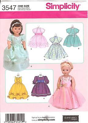 All Occasion doll Dress PATTERN 2sew clothes Simplicity 3547 formals fit AG 18in