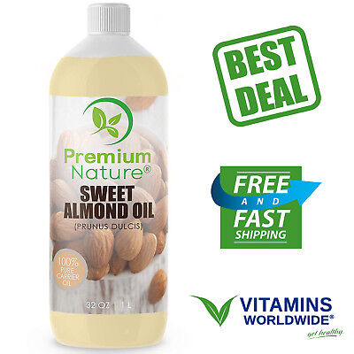 SWEET ALMOND OIL 100% Natural Pure for Skin & Hair Moisturizer Massage 32 Oz