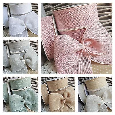 25,40,60mm Boucle Slub Ribbon, Vintage Colours Rustic Wedding Floral Shabby Chic