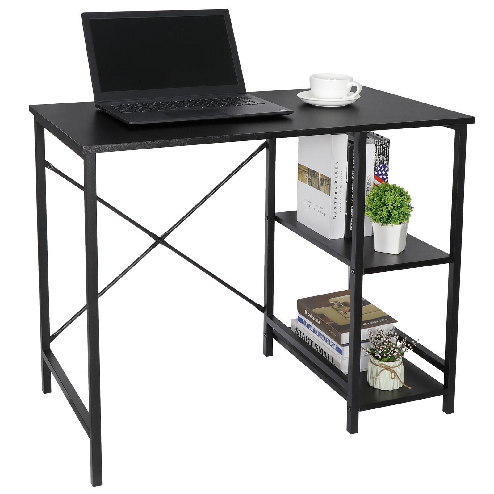 Wood Computer Desk w/2 Tier Shelves Modern Laptop Study Table Home Office Furniture