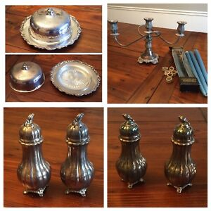 Silver plate butter dish, candelabra and salt & pepper shakers
