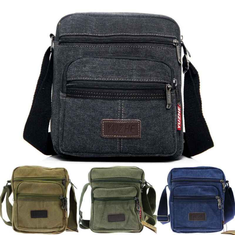 Men Canvas Crossbody Shoulder Bag Travel Sports Messenger Sc