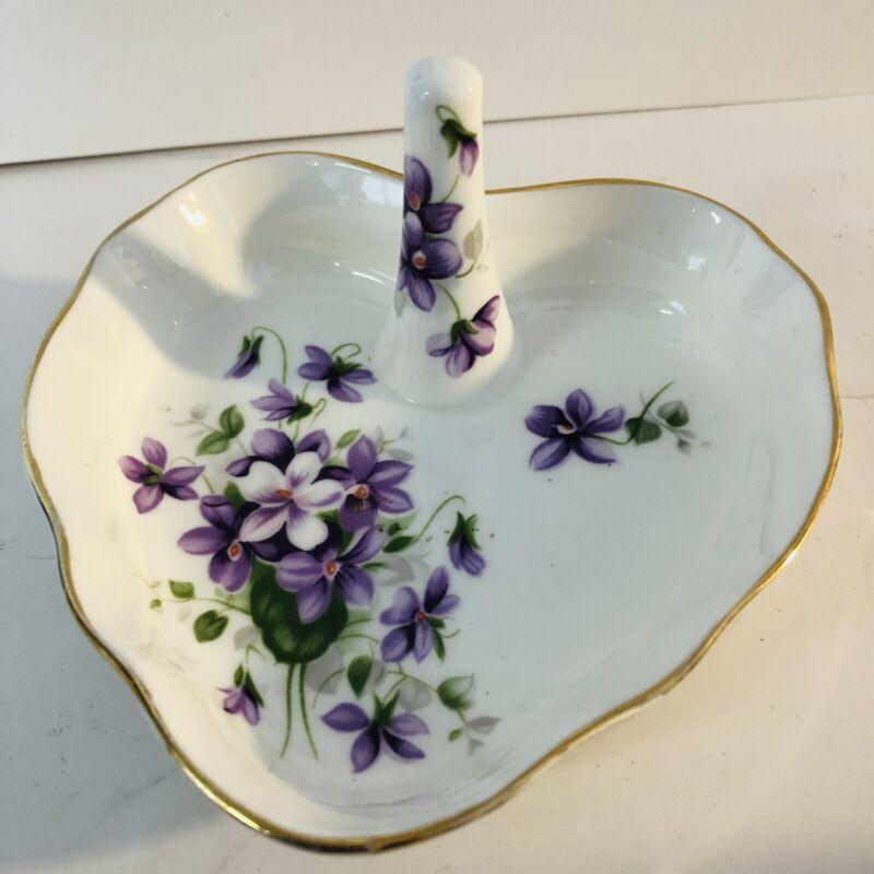 Aynsley Made In England Fine English Bone China Wild Violets Trinket Ring Dish