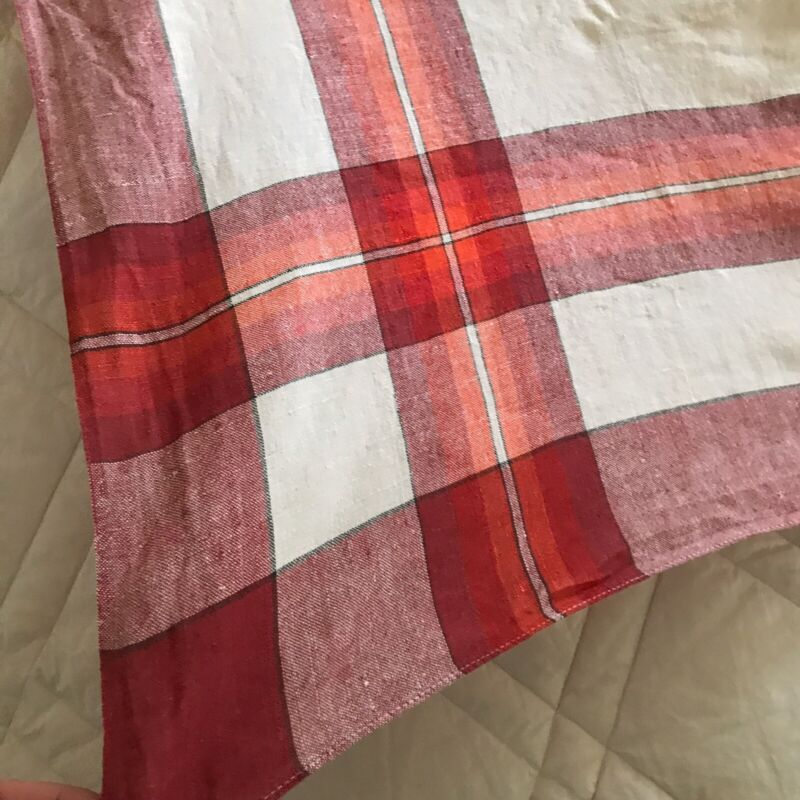 """Turkey Red and White Madras Plaid Tablecloth 50"""" X 52"""""""