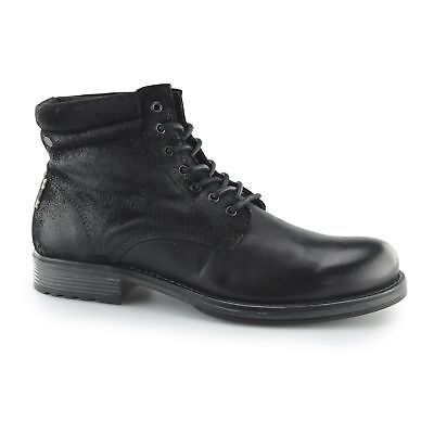 Jack & Jones JUSTIN Mens Leather/Suede Lace-Up Ankle Casual Derby Boots Black
