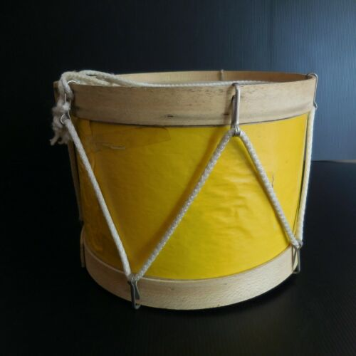 Drum Tambourine Instrument Music Made Hand Wood Paper String Vintage N5409