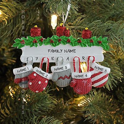 Mitten Family Of 5 Personalized Holiday Christmas Tree Ornament Holiday Gift